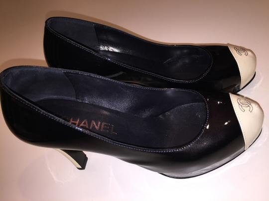 Chanel Dark Navy Blue/ White Toe Pumps