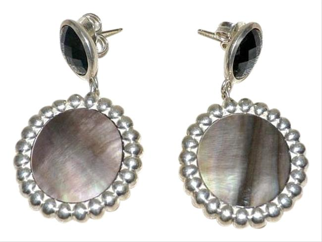 """Item - Black Crystal and Black Mother Of Pearl """"Nuage"""" Dangler Post Ss Earrings"""