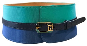Fendi Colorblock Blue Striped Logo Thick Waist Belt