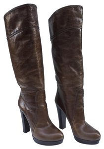 Prada Boot Leather Round Toe Brown Boots