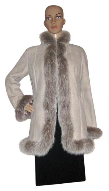 Item - Light Grey Fox Fur and Rabbit Leather Made In Italy. Medium Jacket Size 10 (M)
