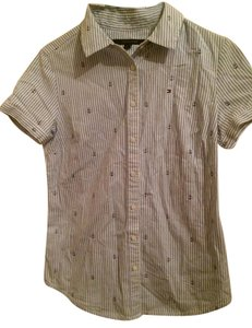 Tommy Hilfiger Short Sleeve Logo Button Down Shirt Baby Blue
