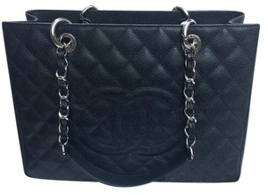 Chanel Gst Silver Hardware Tote in BLACK