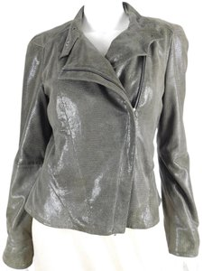 Reiss 1971 Suede Animal Print Moto Grey Leather Jacket