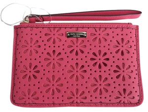 Kate Spade Leather Perforated Wristlet in Coral Orange