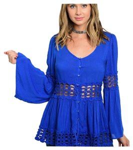 Other Bohemian Crochet Bell Sleeve Peasant Color Tunic