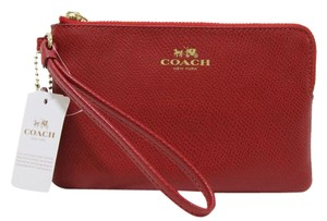 Coach Leather Nwt F54626 Wristlet in True Red