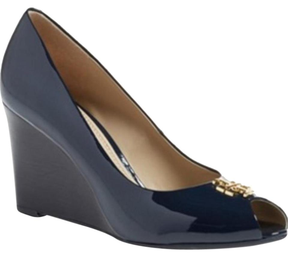 Tory Burch Bright Navy New 'jade' Peep Wedges Toe Patent Leather Pump Wedges Peep 67650a