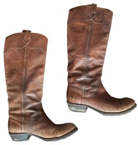 Frye Distressed Leather Cowboy Southwest Western Cognac Stone Antiqued Boots