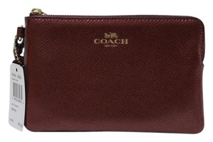 Coach Leather Nwt F54626 Gold Wristlet in METALLIC CHERRY
