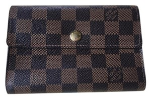 Louis Vuitton Authentic LV Damier Ebene Canvas Alexandra Trifold Wallet EUC Box 13cc Card Slots