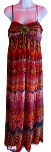 Multi pattern in orange, red, brown, blue Maxi Dress by Boston Proper Embellished Silk