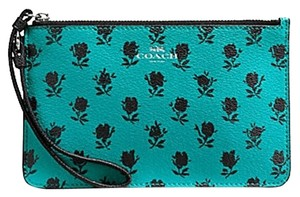 Coach 889532660391 Nwt F56024 Wristlet in SILVER / TURQUOISE BLACK