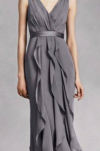 White By Vera Wang Pewter V-neck Wrapped Bodice Dress With Satin Belt Dress