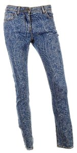Etro Cotton Paisley Print Skinny Jeans-Medium Wash