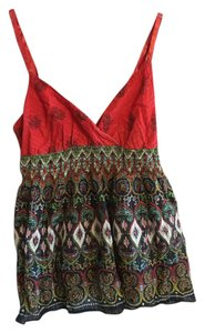 Etcetera Red/multi-colored Halter Top