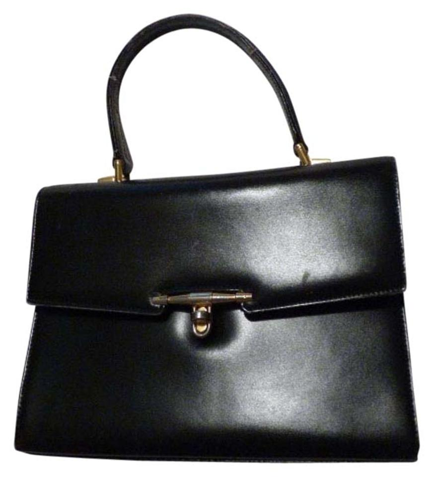 82ada05cd214 Gucci True 1960 s Mod Early Kelly Style Hard   Boxy Shape Excellent Vintage  Satchel in black ...