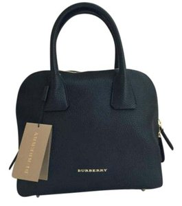 Burberry Greenwood Bowling Grainy Leather Designer Satchel in Black
