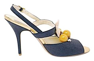 Stella McCartney Raffia Cherry Midnight Blue Pumps