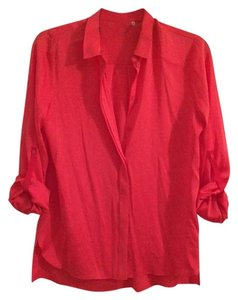 Elie Tahari Adjustable Arms Bright Top Electric Salmon
