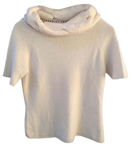 Neiman Marcus Textured Cashmere Cowl Neck Short Sleeved Sweater