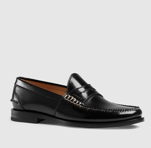 Gucci New Men's Black Polished Leather Penny Loafer 8.5/ Us 9 368442 1000