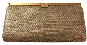 Jimmy Choo Evening Cocktail Silver Gold Metallic Champagne Clutch
