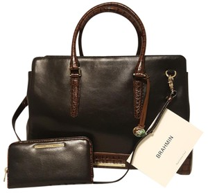 Brahmin Workbag Wallet Leather Satchel in Black Tuscan