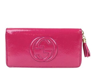 Gucci Gucci Zip Around Clutch Wallet 308004 Fuchisa Patent Leather 9640