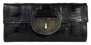 R&Y Augousti Reptile Date Night Leather Night Out Black Clutch