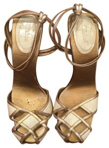 Chloé bronze and off white Pumps
