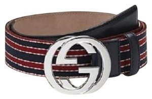 Gucci Bucci BELT w/BRB Web Interlocking G Buckle Navy SZ 85/34 114984 6461