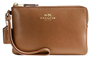Coach Leather Nwt F54626 Wristlet in GOLD / SADDLE