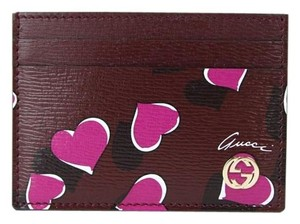 Gucci Leather Card Case Holder Wallet Interlocking G 334483 Burgundy5009