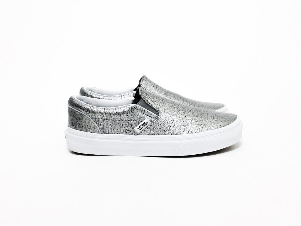 a30607a805bcc2 Vans Silver Black White Full-grain Leather Classic Slip-on Sneakers ...