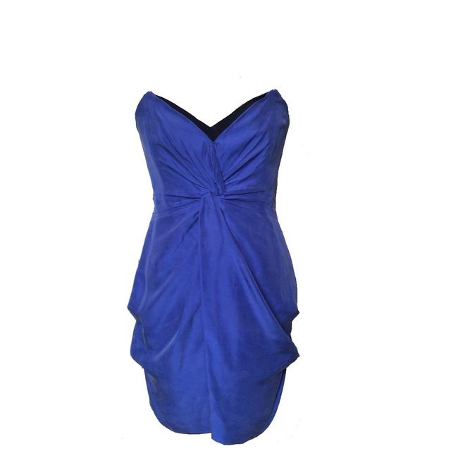 Reiss Indigo Strapless Knee Length Cocktail Dress Size 8 (M) Reiss Indigo Strapless Knee Length Cocktail Dress Size 8 (M) Image 1