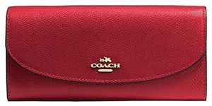 Coach SLIM ENVELOPE WALLET IN CROSSGRAIN LEATHER RED (COACH F54009)