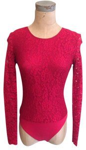 Ann Taylor Classic Lace Top Red