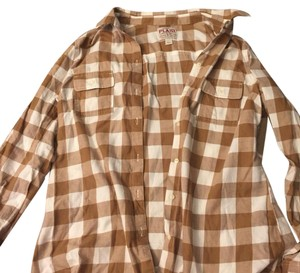 Old Navy Button Down Shirt Brown, white