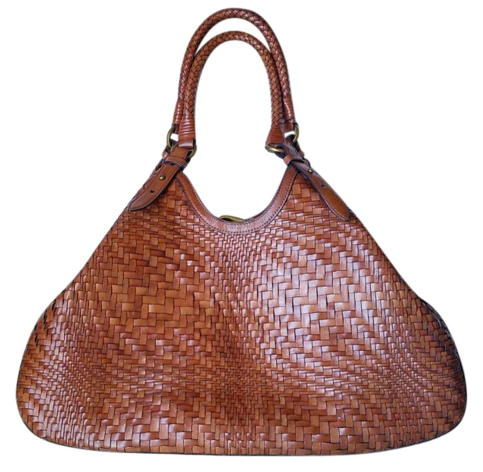 cf00b46eb225 Cole Haan Bag Genevieve Weave Large Triangle Saddle Leather (Outer) Tote 7%  off retail