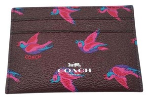 Coach NEW COACH birds print Card Case Business card holder red Gift