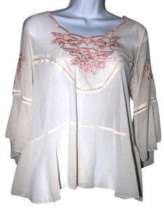 Free People Sheer Embroidered Top Cream and Pink