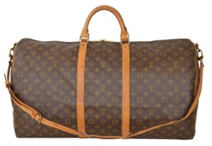 Louis Vuitton Lv Keepall 60 Bandouliere Lv Strap Brown Travel Bag