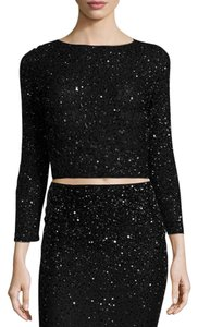 Alice + Olivia Beaded Crop Top Black