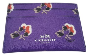 Coach NEW COACH floral print Card Case Business card holder purple Gift
