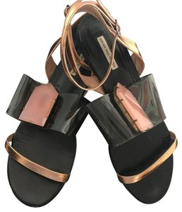 Dries van Noten Black/ clear/ rose gold Sandals