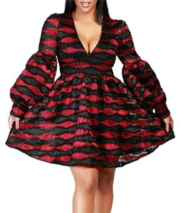 Caribbean Queen Cocktail Bubble Sleeve Holiday Dress