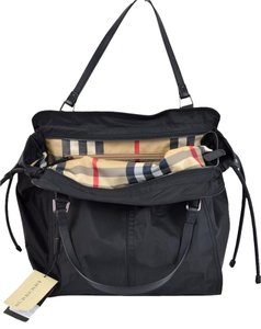 Burberry Nylon Check Tote in Black