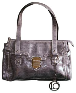 Liz Claiborne Pebbled Faux Leather Satchel in Gray