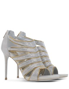 Rene Caovilla Zip High Heel Rhinestones Gray Sandals